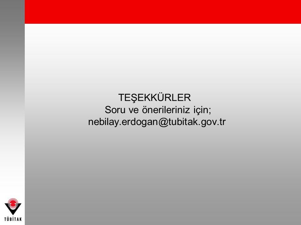 TEŞEKKÜRLER Soru ve önerileriniz için; nebilay.erdogan@tubitak.gov.tr