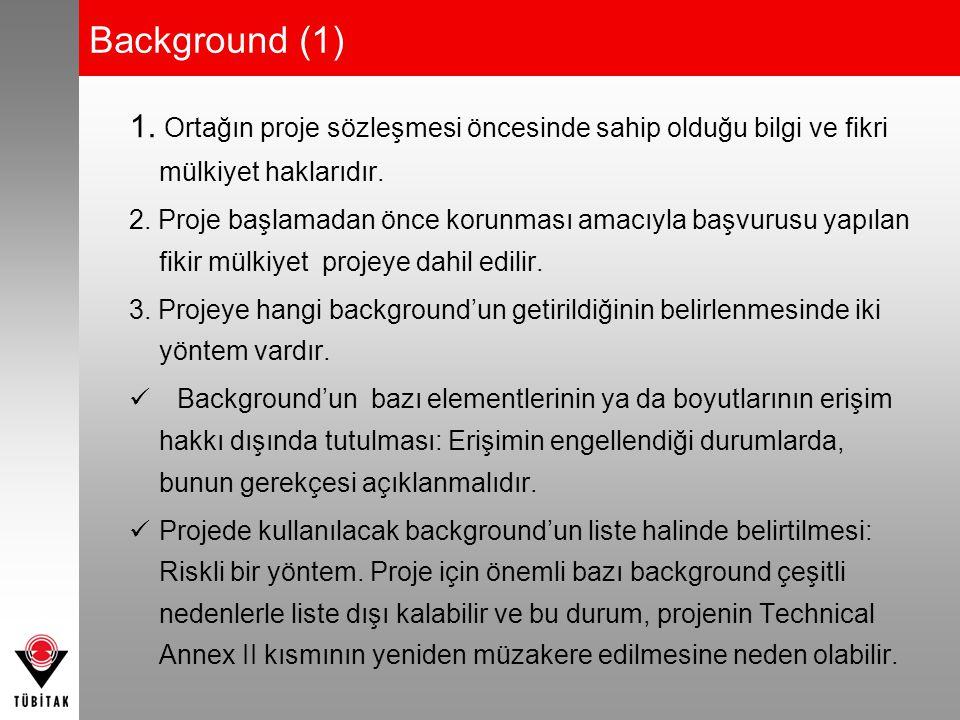 Background (1) 1. Ortağın proje sözleşmesi öncesinde sahip olduğu bilgi ve fikri mülkiyet haklarıdır.