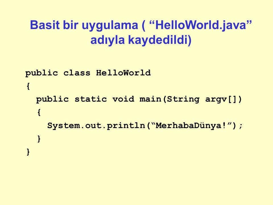 Basit bir uygulama ( HelloWorld.java adıyla kaydedildi)
