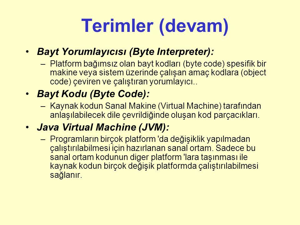 Terimler (devam) Bayt Yorumlayıcısı (Byte Interpreter):