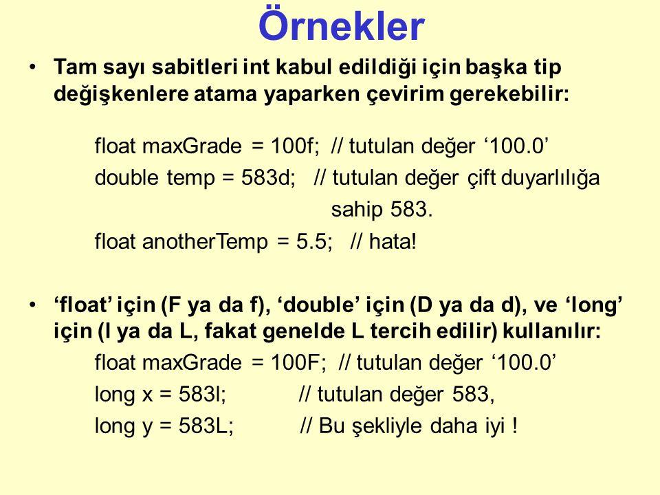 Örnekler Tam sayı sabitleri int kabul edildiği için başka tip değişkenlere atama yaparken çevirim gerekebilir: