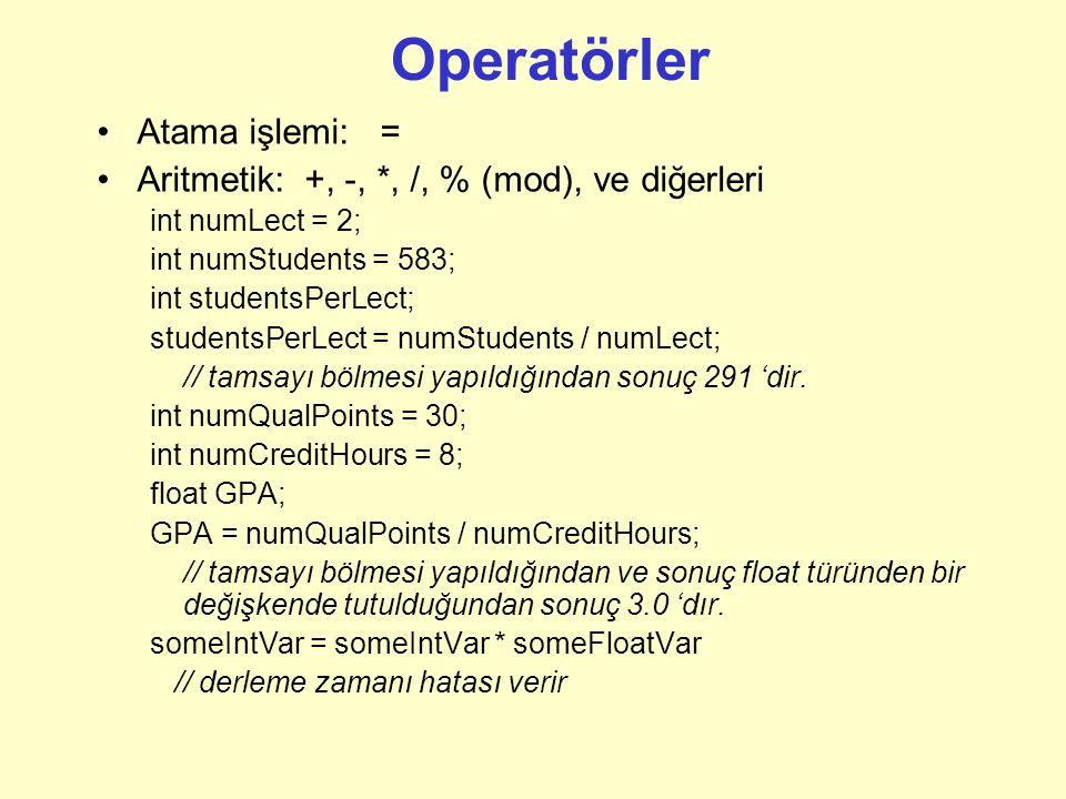 Operatörler Atama işlemi: =