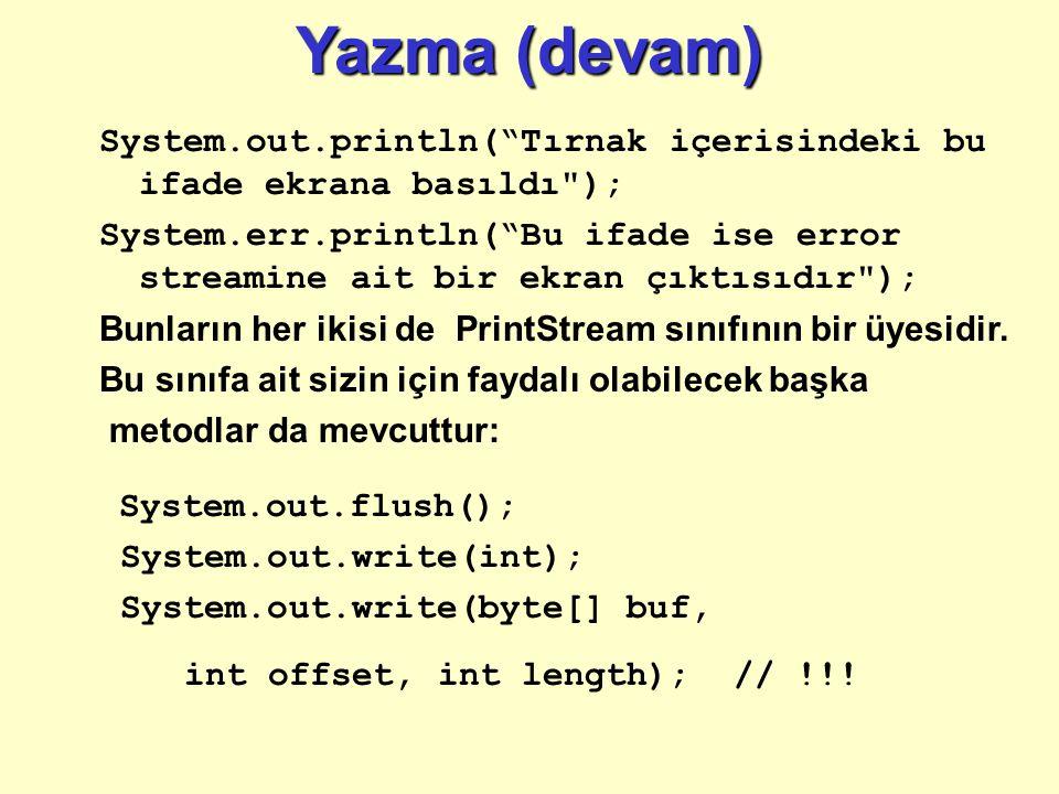 Yazma (devam) System.out.println( Tırnak içerisindeki bu ifade ekrana basıldı );