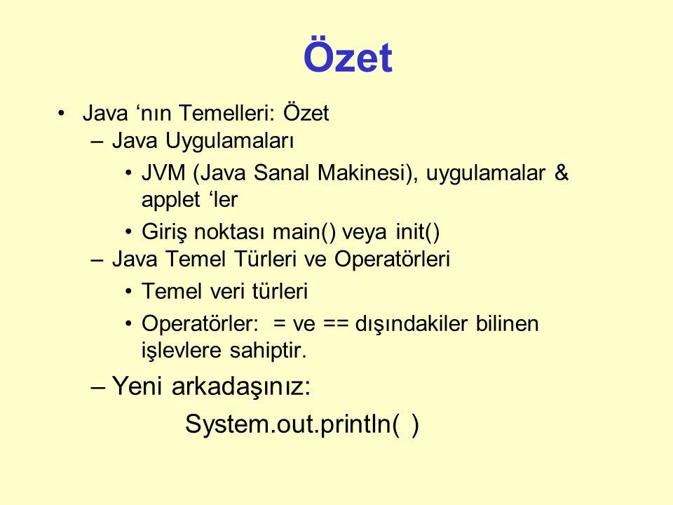 Özet Yeni arkadaşınız: System.out.println( ) Java 'nın Temelleri: Özet