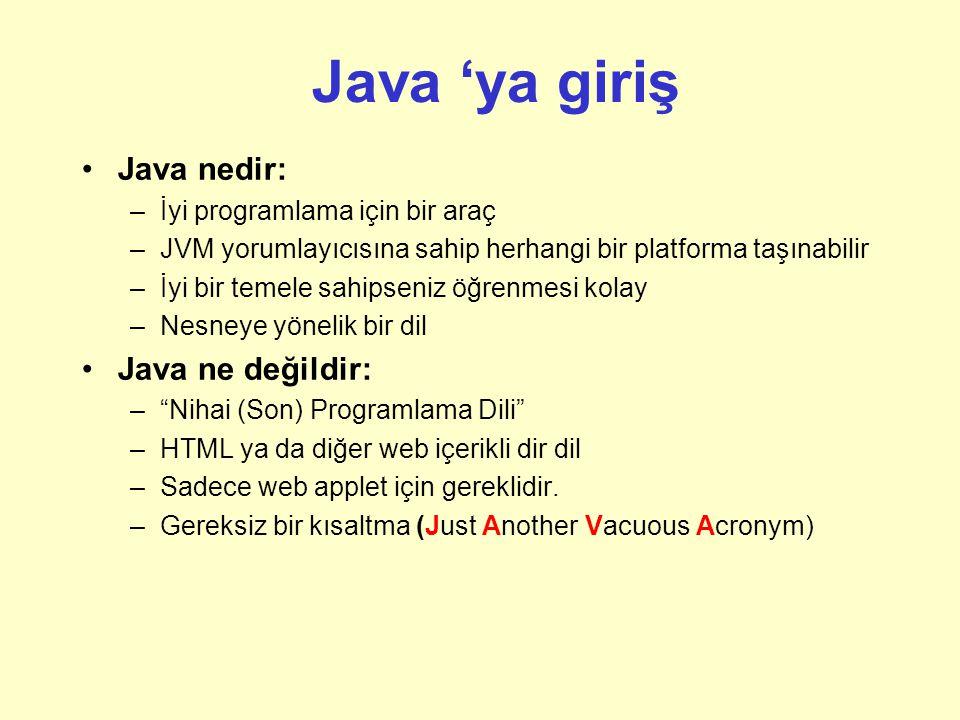 Java 'ya giriş Java nedir: Java ne değildir: