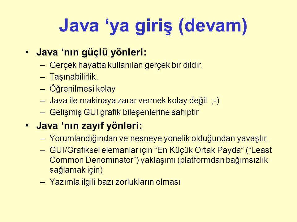 Java 'ya giriş (devam) Java 'nın güçlü yönleri: