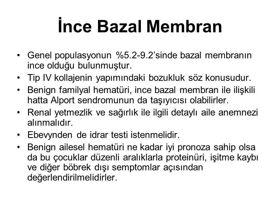 İnce Bazal Membran Genel populasyonun %5.2-9.2'sinde bazal membranın ince olduğu bulunmuştur. Tip IV kollajenin yapımındaki bozukluk söz konusudur.