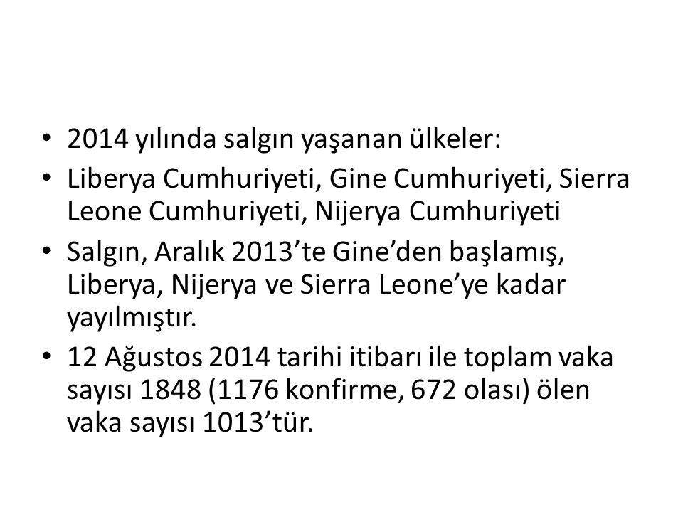 2014 yılında salgın yaşanan ülkeler: