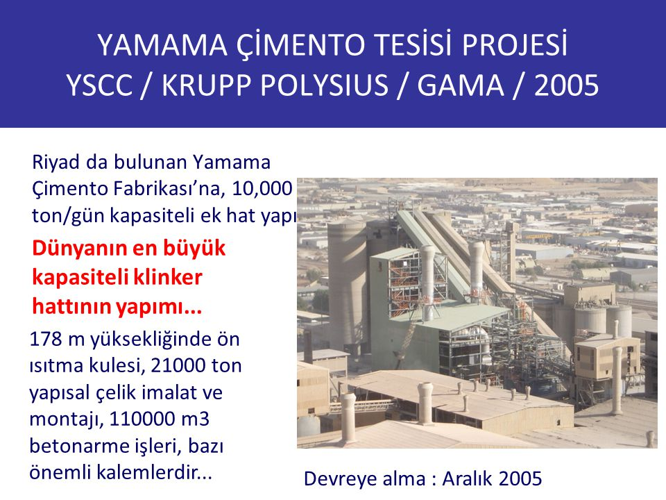 YAMAMA ÇİMENTO TESİSİ PROJESİ YSCC / KRUPP POLYSIUS / GAMA / 2005