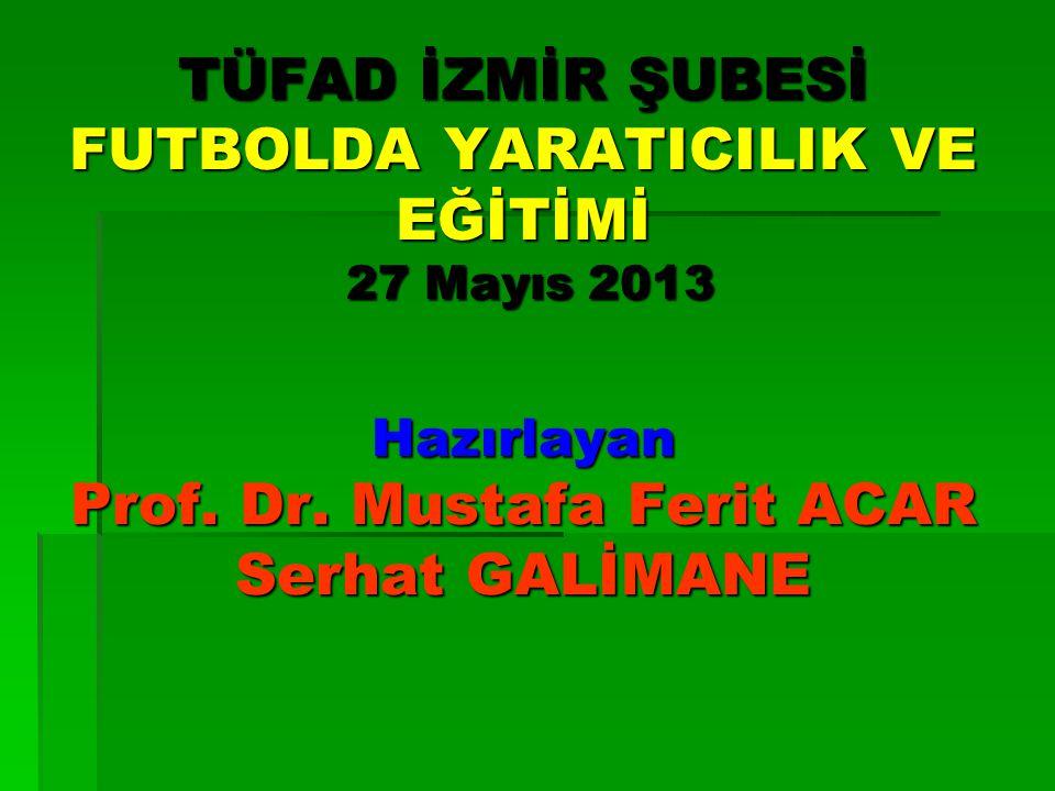 TÜFAD İZMİR ŞUBESİ FUTBOLDA YARATICILIK VE EĞİTİMİ 27 Mayıs 2013 Hazırlayan Prof.