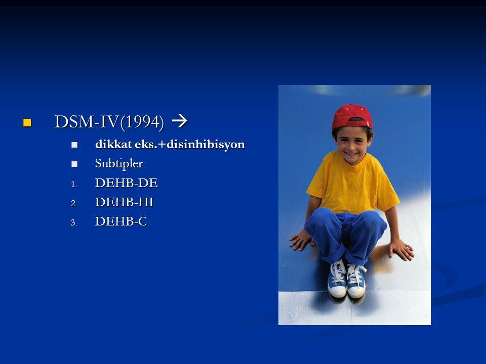 DSM-IV(1994)  dikkat eks.+disinhibisyon Subtipler DEHB-DE DEHB-HI