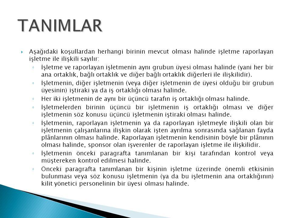 TANIMLAR Aşağıdaki koşullardan herhangi birinin mevcut olması halinde işletme raporlayan işletme ile ilişkili sayılır: