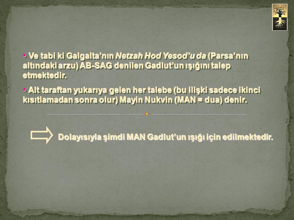 Ve tabi ki Galgalta'nın Netzah Hod Yesod'u da (Parsa'nın altındaki arzu) AB-SAG denilen Gadlut'un ışığını talep etmektedir.