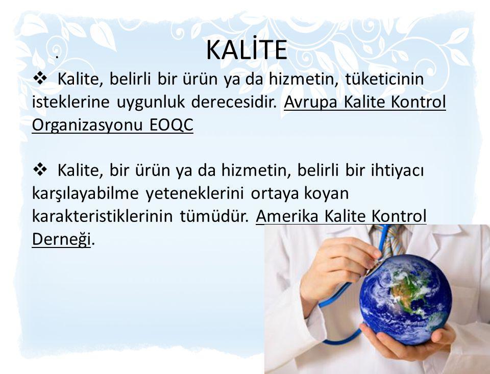 KALİTE Kalite, belirli bir ürün ya da hizmetin, tüketicinin isteklerine uygunluk derecesidir. Avrupa Kalite Kontrol Organizasyonu EOQC.
