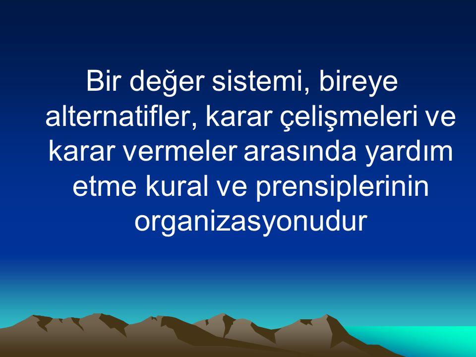 Bir değer sistemi, bireye alternatifler, karar çelişmeleri ve karar vermeler arasında yardım etme kural ve prensiplerinin organizasyonudur