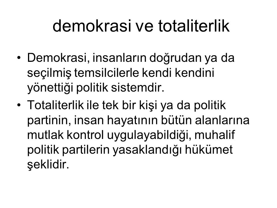 demokrasi ve totaliterlik