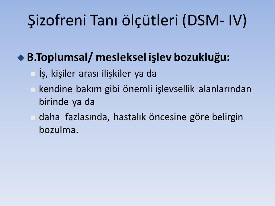 Şizofreni Tanı ölçütleri (DSM- IV)