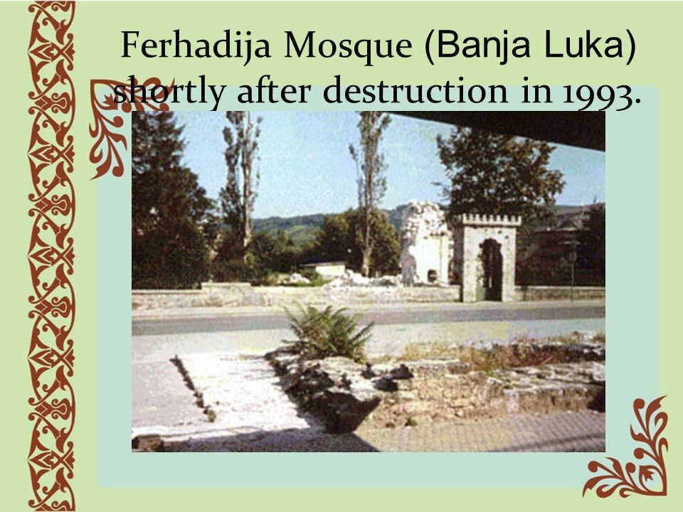 Ferhadija Mosque (Banja Luka) shortly after destruction in 1993.