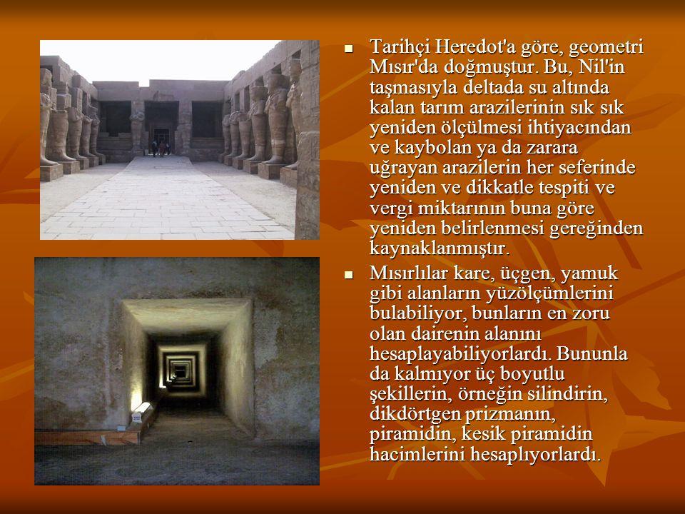 Tarihçi Heredot a göre, geometri Mısır da doğmuştur