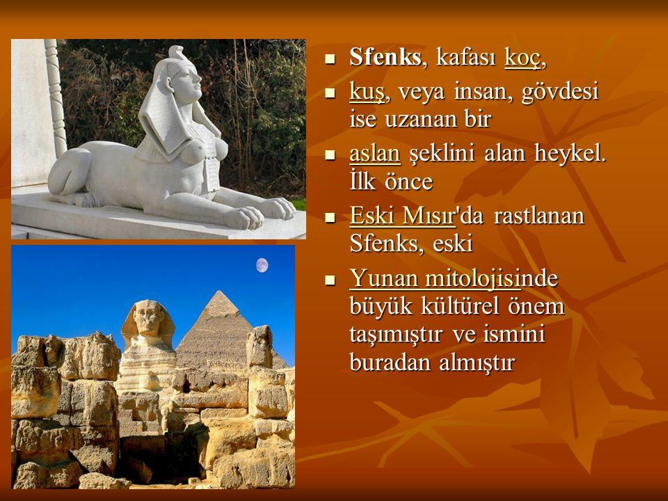Sfenks, kafası koç, kuş, veya insan, gövdesi ise uzanan bir. aslan şeklini alan heykel. İlk önce. Eski Mısır da rastlanan Sfenks, eski.