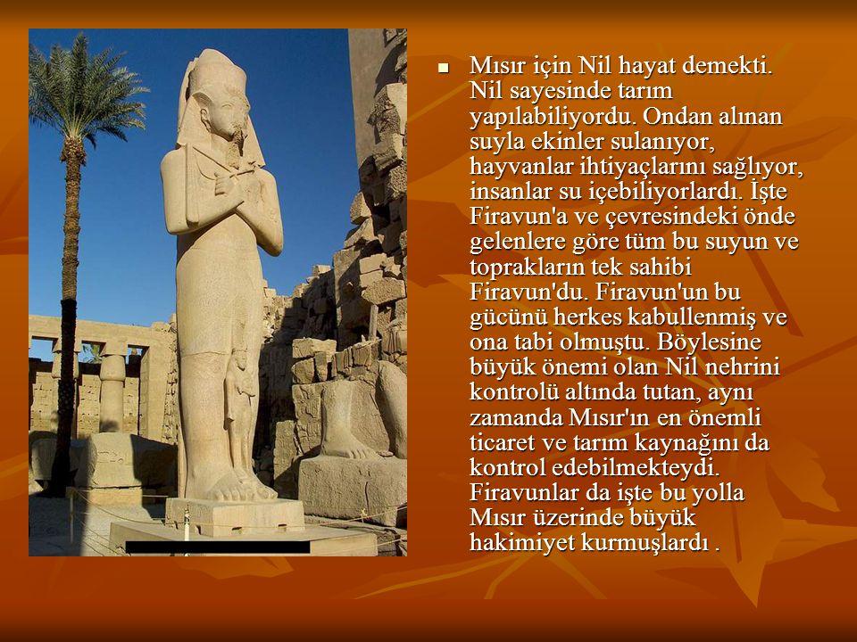 Mısır için Nil hayat demekti. Nil sayesinde tarım yapılabiliyordu