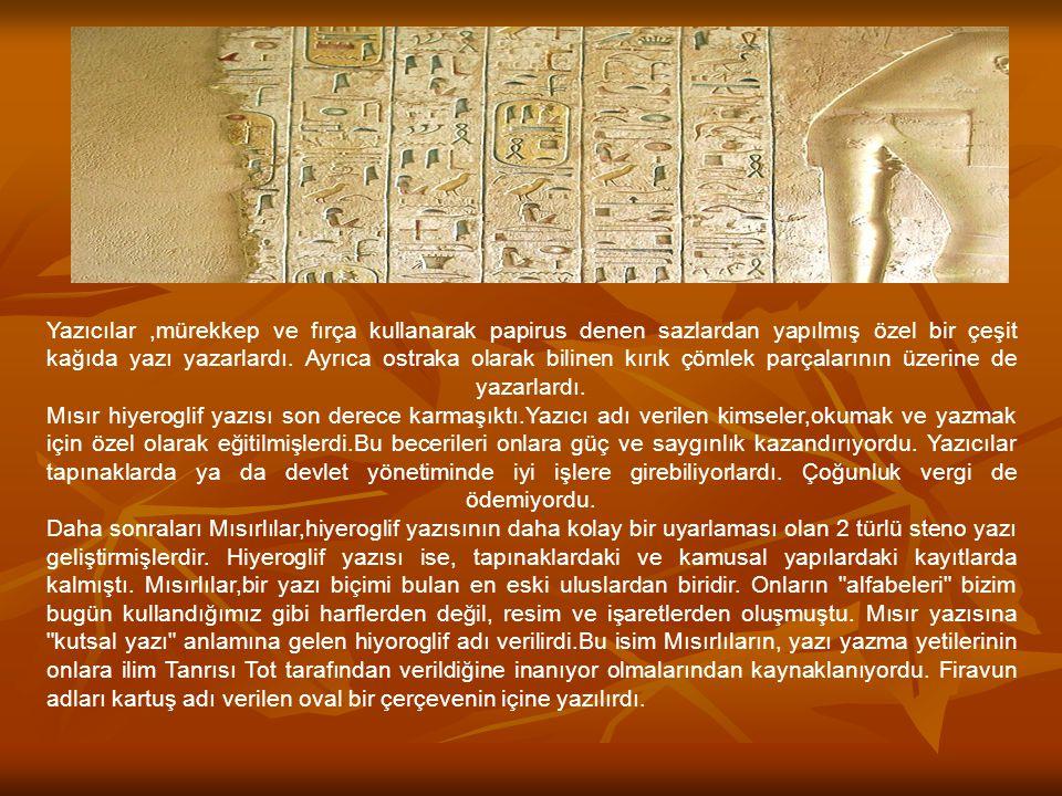 Yazıcılar ,mürekkep ve fırça kullanarak papirus denen sazlardan yapılmış özel bir çeşit kağıda yazı yazarlardı.