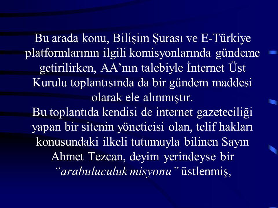 Bu arada konu, Bilişim Şurası ve E-Türkiye platformlarının ilgili komisyonlarında gündeme getirilirken, AA'nın talebiyle İnternet Üst Kurulu toplantısında da bir gündem maddesi olarak ele alınmıştır.