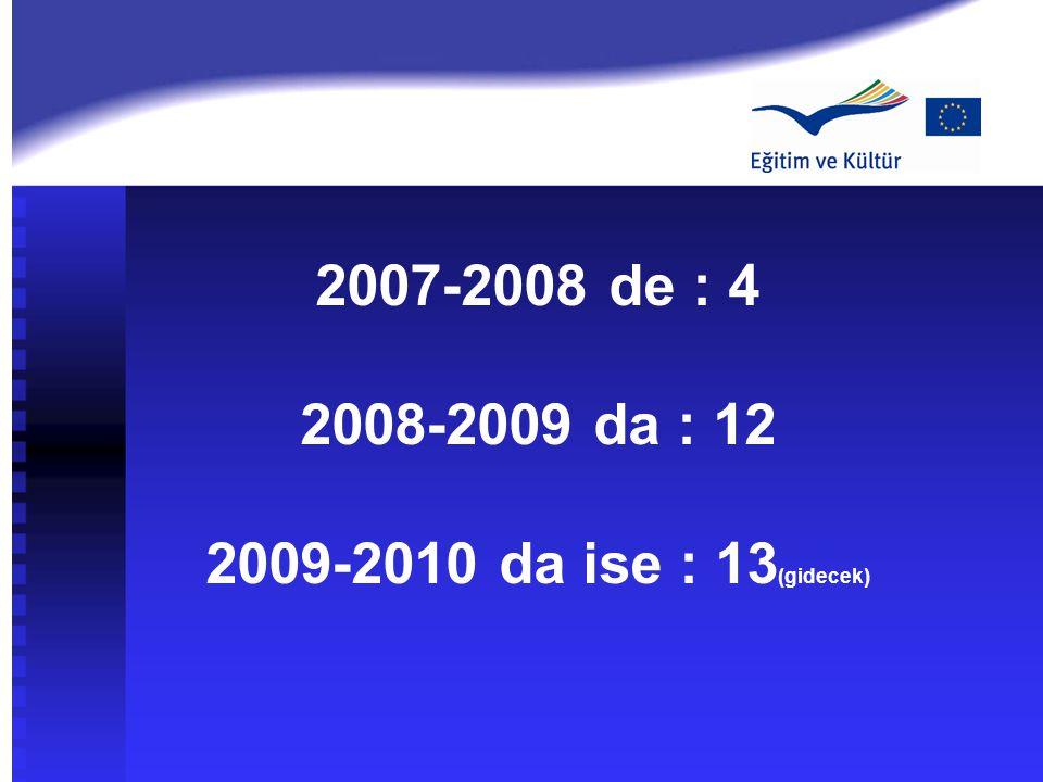 2007-2008 de : 4 2008-2009 da : 12 2009-2010 da ise : 13(gidecek)