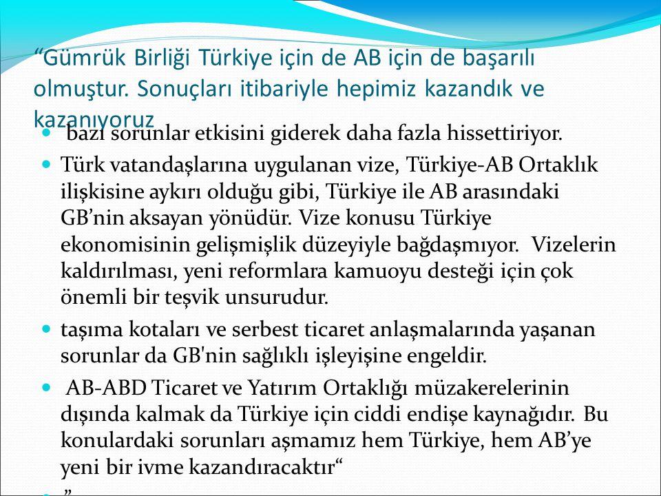 Gümrük Birliği Türkiye için de AB için de başarılı olmuştur