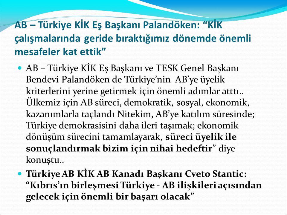 AB – Türkiye KİK Eş Başkanı Palandöken: KİK çalışmalarında geride bıraktığımız dönemde önemli mesafeler kat ettik