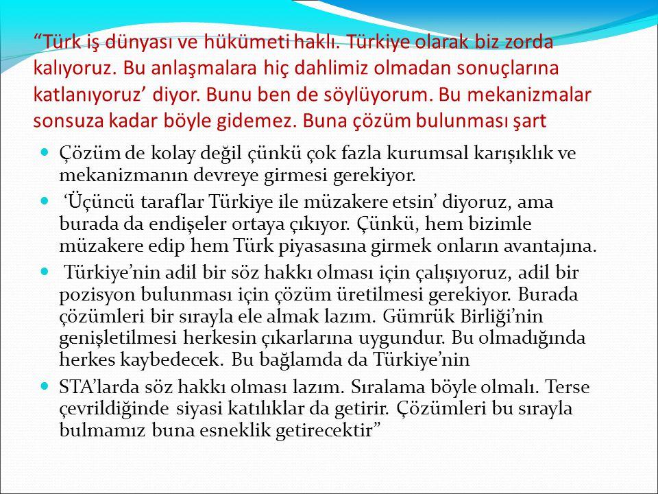 Türk iş dünyası ve hükümeti haklı. Türkiye olarak biz zorda kalıyoruz