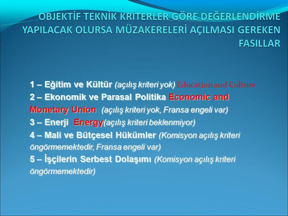 1 – Eğitim ve Kültür (açılış kriteri yok) Education and Culture 2 – Ekonomik ve Parasal Politika Economic and Monetary Union (açılış kriteri yok, Fransa engeli var) 3 – Enerji Energy(açılış kriteri beklenmiyor)