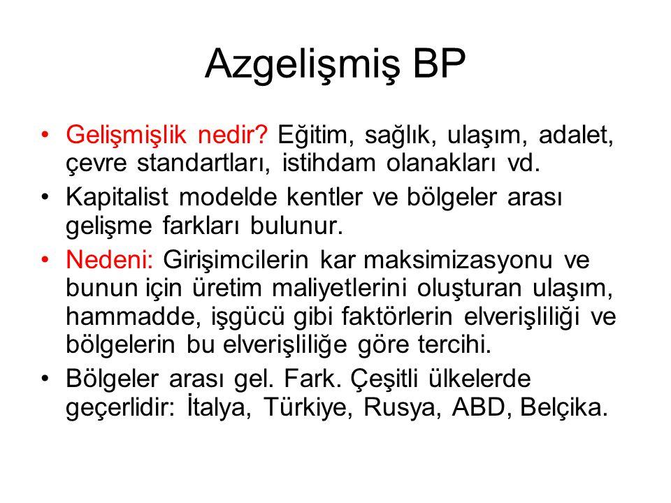 Azgelişmiş BP Gelişmişlik nedir Eğitim, sağlık, ulaşım, adalet, çevre standartları, istihdam olanakları vd.