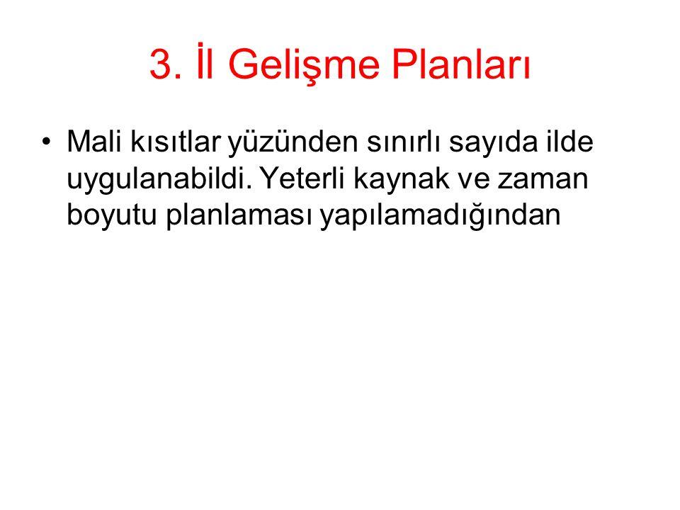 3. İl Gelişme Planları Mali kısıtlar yüzünden sınırlı sayıda ilde uygulanabildi.