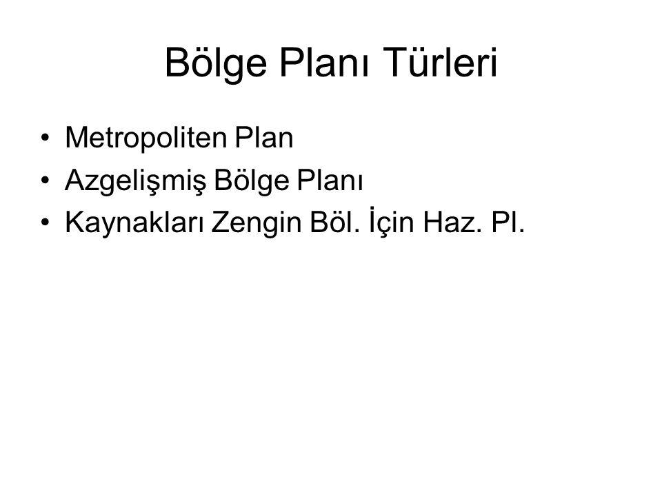 Bölge Planı Türleri Metropoliten Plan Azgelişmiş Bölge Planı