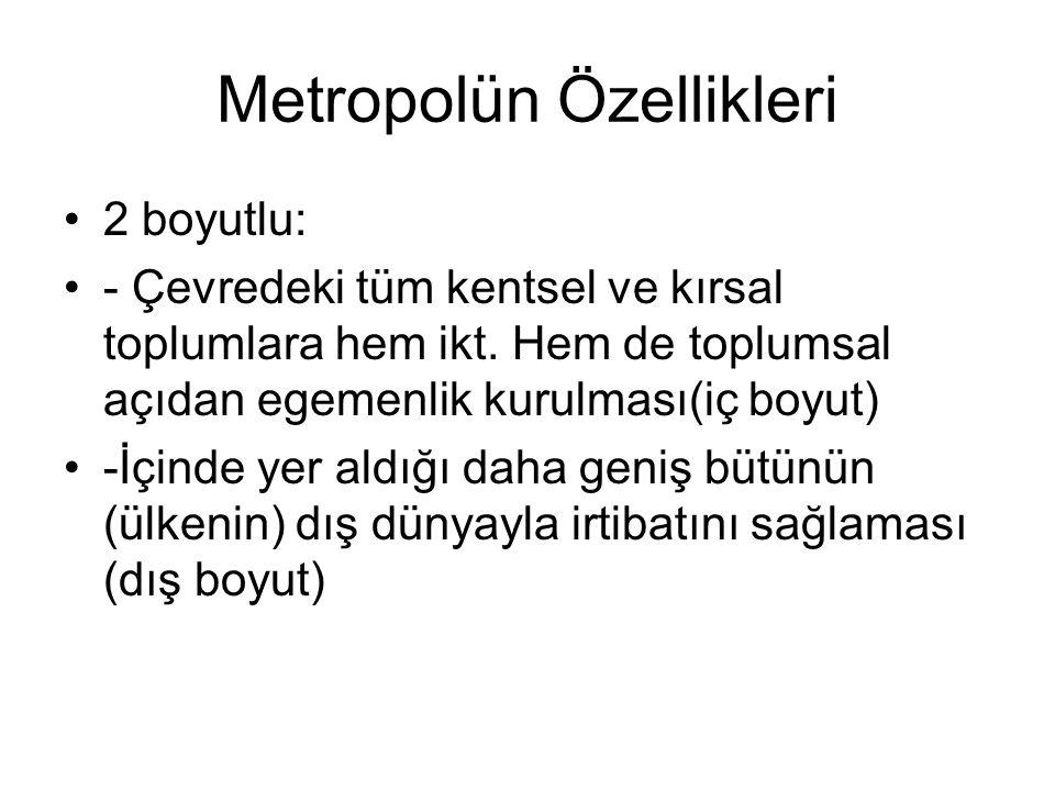Metropolün Özellikleri
