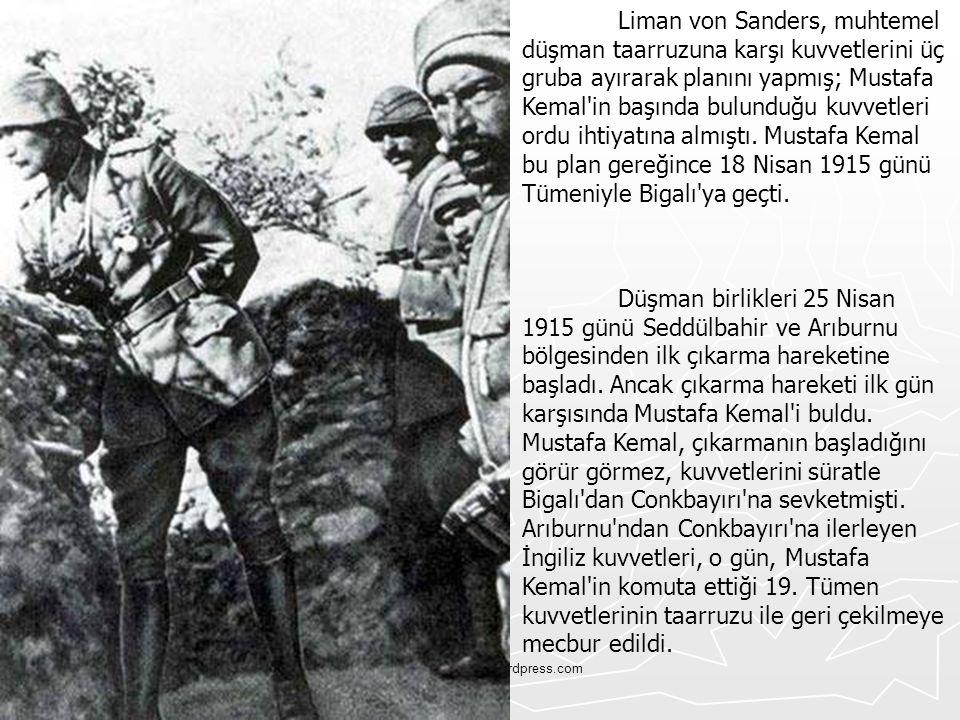 Liman von Sanders, muhtemel düşman taarruzuna karşı kuvvetlerini üç gruba ayırarak planını yapmış; Mustafa Kemal in başında bulunduğu kuvvetleri ordu ihtiyatına almıştı. Mustafa Kemal bu plan gereğince 18 Nisan 1915 günü Tümeniyle Bigalı ya geçti.