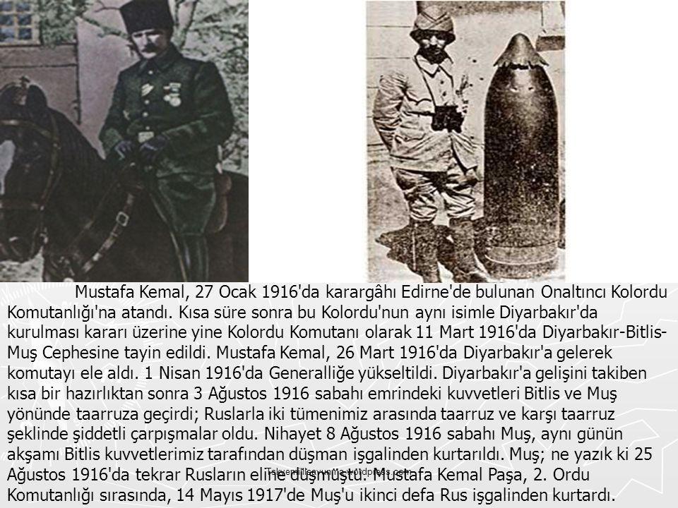 Mustafa Kemal, 27 Ocak 1916 da karargâhı Edirne de bulunan Onaltıncı Kolordu Komutanlığı na atandı. Kısa süre sonra bu Kolordu nun aynı isimle Diyarbakır da kurulması kararı üzerine yine Kolordu Komutanı olarak 11 Mart 1916 da Diyarbakır-Bitlis-Muş Cephesine tayin edildi. Mustafa Kemal, 26 Mart 1916 da Diyarbakır a gelerek komutayı ele aldı. 1 Nisan 1916 da Generalliğe yükseltildi. Diyarbakır a gelişini takiben kısa bir hazırlıktan sonra 3 Ağustos 1916 sabahı emrindeki kuvvetleri Bitlis ve Muş yönünde taarruza geçirdi; Ruslarla iki tümenimiz arasında taarruz ve karşı taarruz şeklinde şiddetli çarpışmalar oldu. Nihayet 8 Ağustos 1916 sabahı Muş, aynı günün akşamı Bitlis kuvvetlerimiz tarafından düşman işgalinden kurtarıldı. Muş; ne yazık ki 25 Ağustos 1916 da tekrar Rusların eline düşmüştü. Mustafa Kemal Paşa, 2. Ordu Komutanlığı sırasında, 14 Mayıs 1917 de Muş u ikinci defa Rus işgalinden kurtardı.