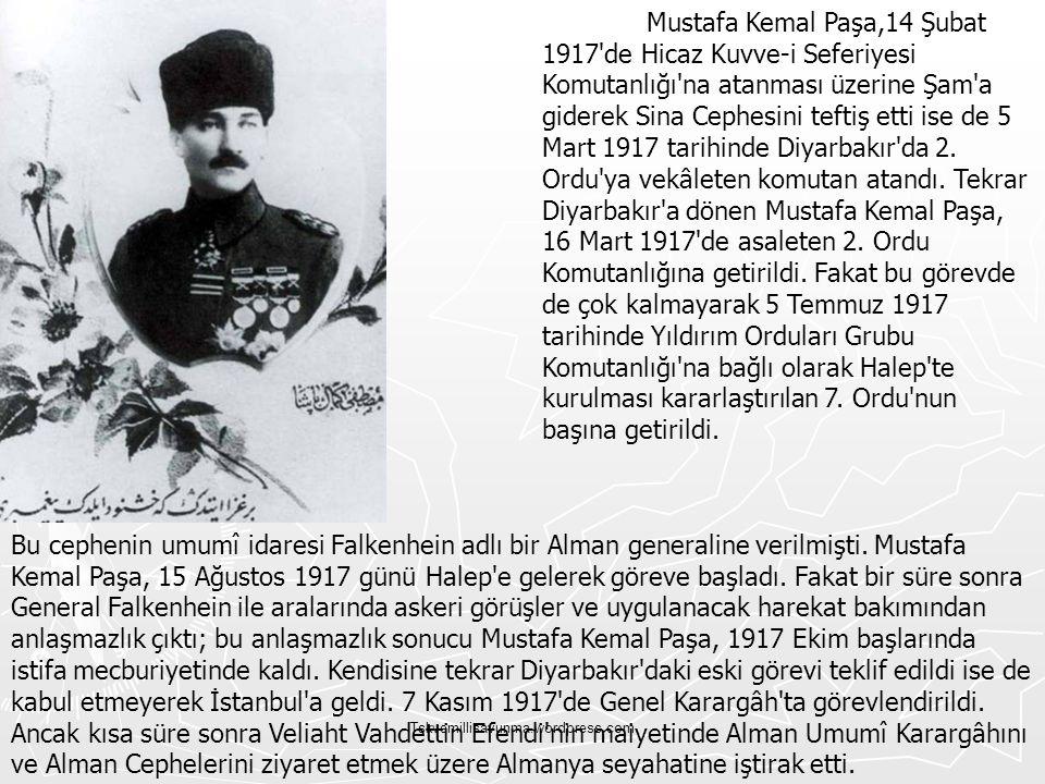 Mustafa Kemal Paşa,14 Şubat 1917 de Hicaz Kuvve-i Seferiyesi Komutanlığı na atanması üzerine Şam a giderek Sina Cephesini teftiş etti ise de 5 Mart 1917 tarihinde Diyarbakır da 2. Ordu ya vekâleten komutan atandı. Tekrar Diyarbakır a dönen Mustafa Kemal Paşa, 16 Mart 1917 de asaleten 2. Ordu Komutanlığına getirildi. Fakat bu görevde de çok kalmayarak 5 Temmuz 1917 tarihinde Yıldırım Orduları Grubu Komutanlığı na bağlı olarak Halep te kurulması kararlaştırılan 7. Ordu nun başına getirildi.