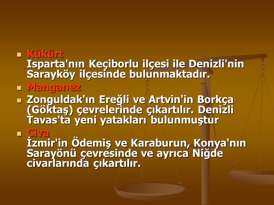 Kükürt Isparta nın Keçiborlu ilçesi ile Denizli nin Sarayköy ilçesinde bulunmaktadır.
