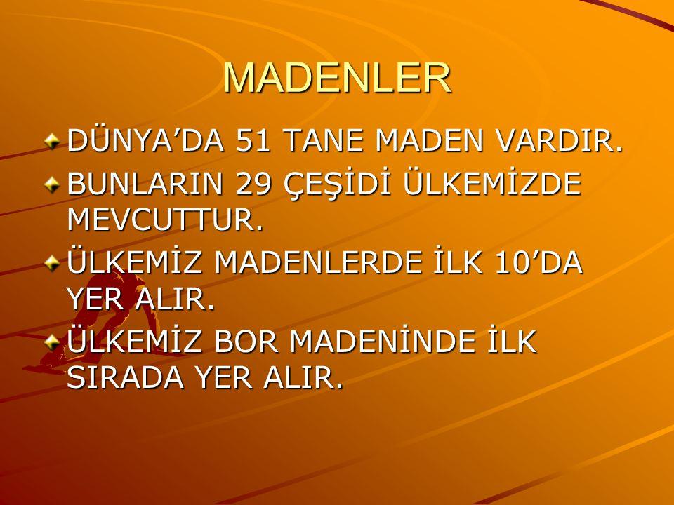 MADENLER DÜNYA'DA 51 TANE MADEN VARDIR.