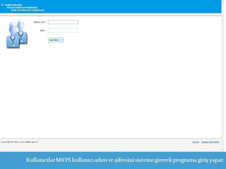 Kullanıcılar MKYS kullanıcı adını ve şifresini sisteme girerek programa giriş yapar.