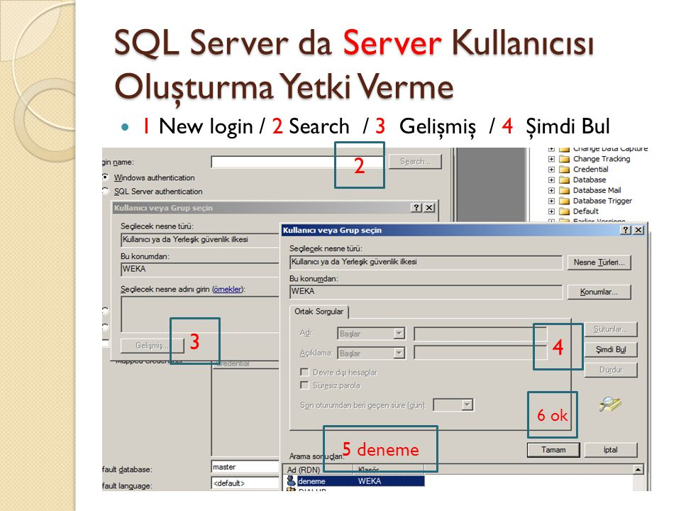 SQL Server da Server Kullanıcısı Oluşturma Yetki Verme