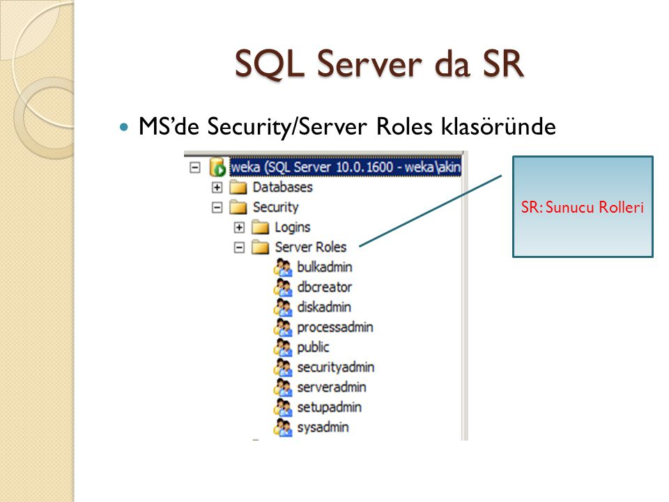 SQL Server da SR MS'de Security/Server Roles klasöründe