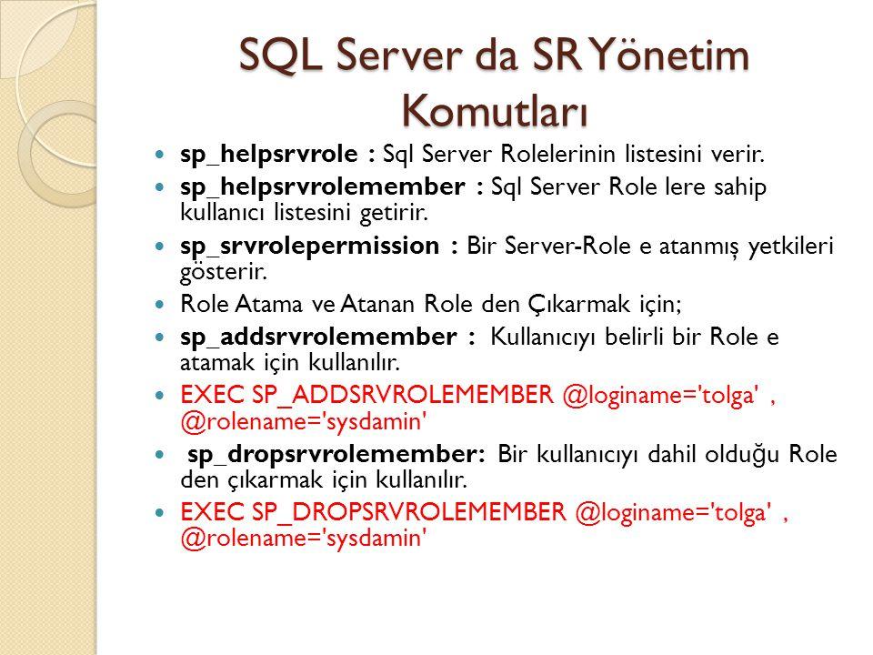 SQL Server da SR Yönetim Komutları