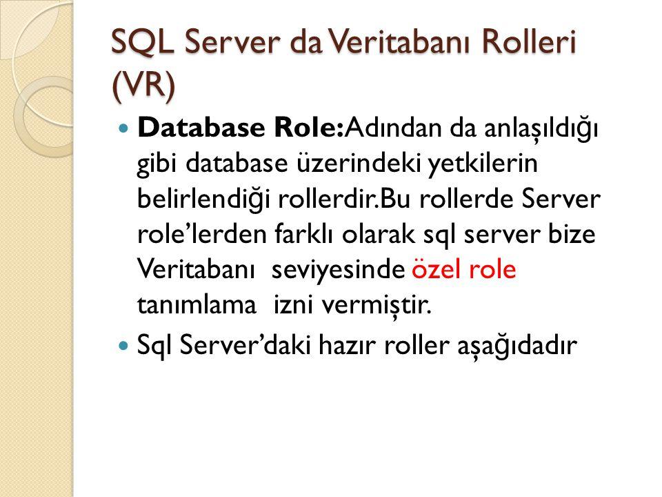 SQL Server da Veritabanı Rolleri (VR)