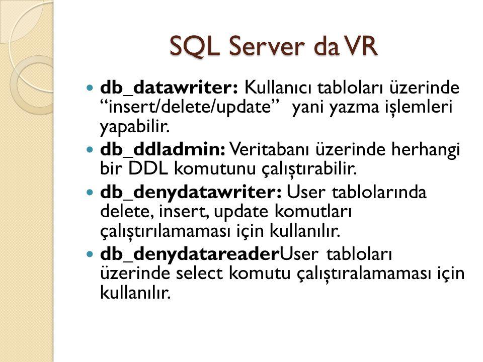 SQL Server da VR db_datawriter: Kullanıcı tabloları üzerinde insert/delete/update yani yazma işlemleri yapabilir.