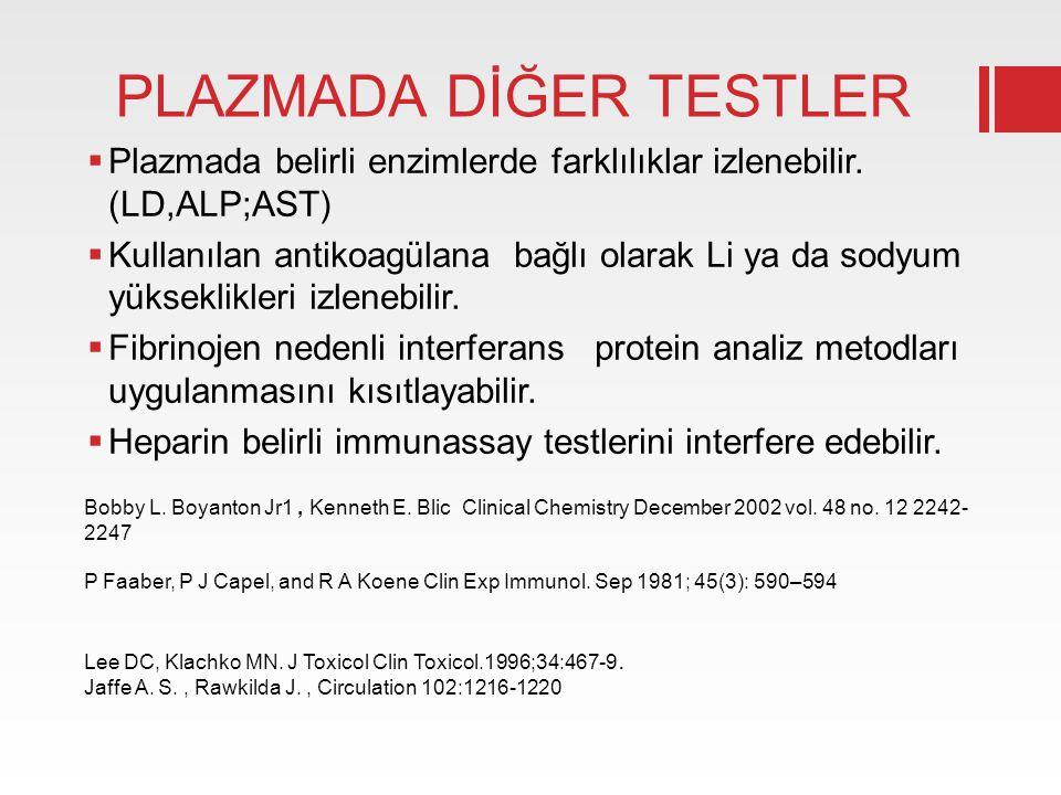 PLAZMADA DİĞER TESTLER