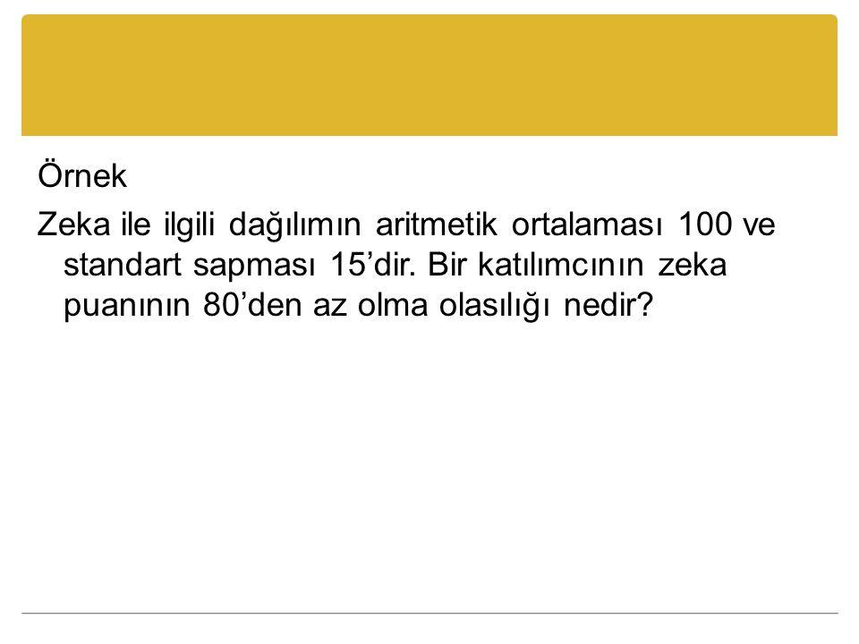 Örnek Zeka ile ilgili dağılımın aritmetik ortalaması 100 ve standart sapması 15'dir.