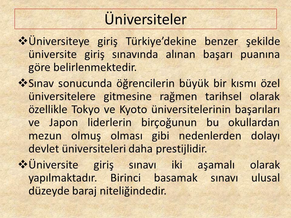 Üniversiteler Üniversiteye giriş Türkiye'dekine benzer şekilde üniversite giriş sınavında alınan başarı puanına göre belirlenmektedir.